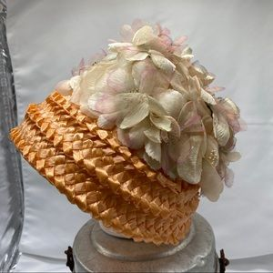 Vintage Peach Colored Straw Hat with Union Tags